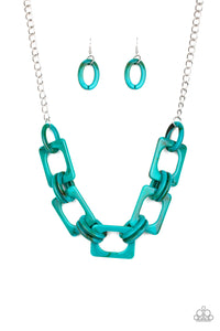 Paparazzi Sizzle Sizzle - Blue - Acrylic Links - Silver Chain Necklace and matching Earrings - Lauren's Bling $5.00 Paparazzi Jewelry Boutique