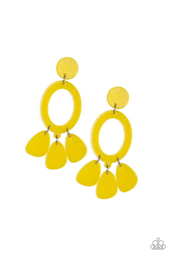Paparazzi Sparkling Shores - Yellow Flecked Acrylic - Earrings