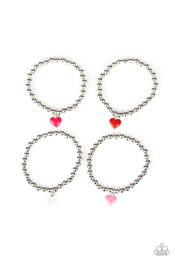 Paparazzi Starlet Shimmer Bracelets - 10 - Valentines Heart in Pink, Red and White
