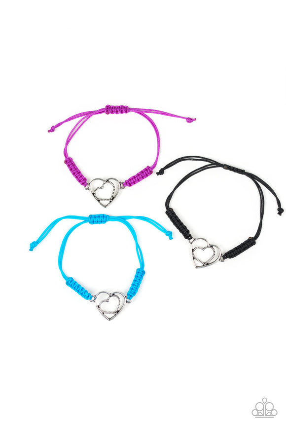 Paparazzi Starlet Shimmer - Girls Bracelets - 10! - Silver Heart - Sliding Knot - Purple, Blue and Black