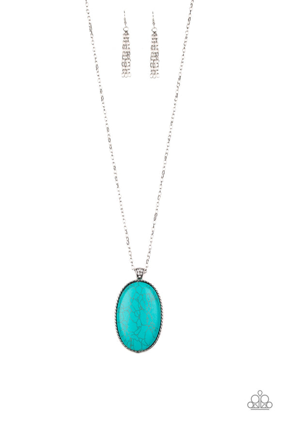 Paparazzi Stone Stampede - Blue Turquoise - Silver Chain Necklace and matching Earrings - Life of the Party Exclusive August 2019