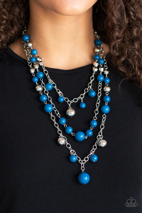 Paparazzi The Partygoer - Blue Beads - Silver Chains Necklace & Earrings - Lauren's Bling $5.00 Paparazzi Jewelry Boutique
