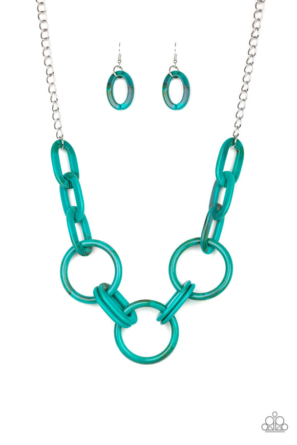 Paparazzi Turn Up The Heat - Blue Acrylic Links - Silver Chain Necklace and matching Earrings