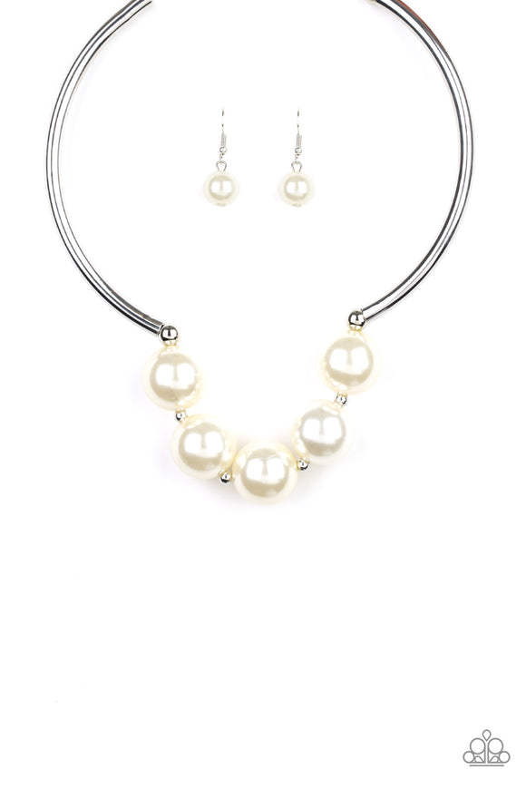 Paparazzi Welcome To Wall Street - White Pearls - Silver Necklace - Life of the Party Exclusive September 2019