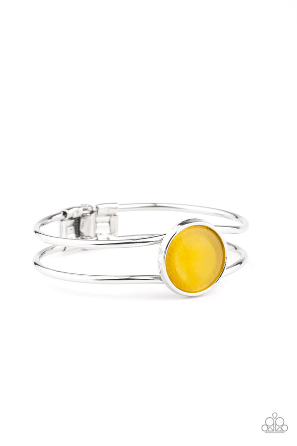 Paparazzi Winning Glow - Yellow - Cat's Eye Moonstone - Hinged Closure - Bracelet