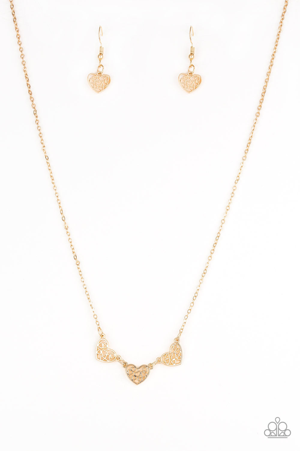 455fa0e4be Another Love Story - Gold - Heart Necklace and matching Earrings ...