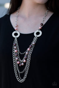 Paparazzi BELLES and Whistles - Multi - Pearly Brown, Pink and Tan Beads - Necklace & Earrings - Lauren's Bling $5.00 Paparazzi Jewelry Boutique