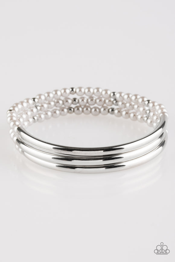 Paparazzi City Pretty - Silver - Pearly Beads - Stretchy Band - Set of 3 Bracelets - Lauren's Bling $5.00 Paparazzi Jewelry Boutique