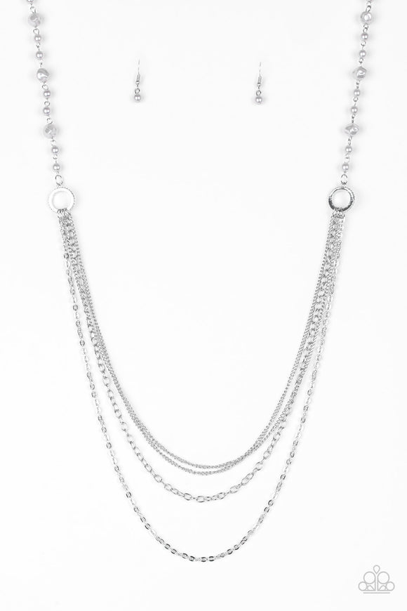 Paparazzi Contemporary Cadence - Silver Pearls - Multi Chains - Necklace and matching Earrings - Lauren's Bling $5.00 Paparazzi Jewelry Boutique