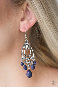 Paparazzi Fashion Flirt - Blue - White Rhinestones - Silver Heart Earrings - Lauren's Bling $5.00 Paparazzi Jewelry Boutique