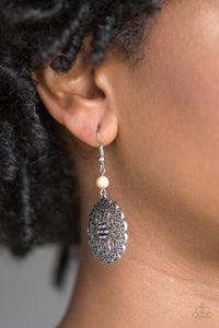 Paparazzi Full Floral - Brown Bead - Floral Filigree Round - Earrings - Lauren's Bling $5.00 Paparazzi Jewelry Boutique