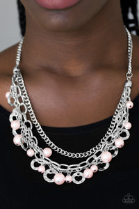 Paparazzi Hoppin Hearts - Pink Pearly Beads - Heart Cut Out - Silver Chains Necklace & Earrings - Lauren's Bling $5.00 Paparazzi Jewelry Boutique