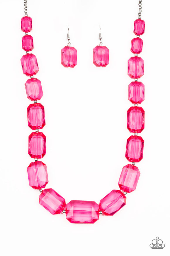 Paparazzi ICE Versa - Pink Acrylic - Necklace and matching Earrings - Life of the Party Exclusive May 2019