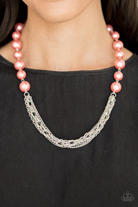 Paparazzi Runaway Bridesmaid - Orange / Coral Pearls - Necklace and matching Earrings - Lauren's Bling $5.00 Paparazzi Jewelry Boutique