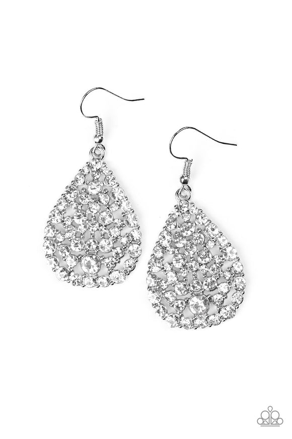 Sparkle Brighter - White - Earrings - Lauren's Bling $5.00 Paparazzi Jewelry Boutique