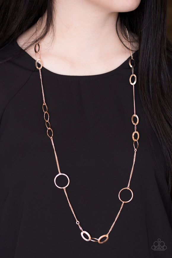 Paparazzi Standard Style - Rose Gold - Round Hoop - Necklace & Earrings - Lauren's Bling $5.00 Paparazzi Jewelry Boutique