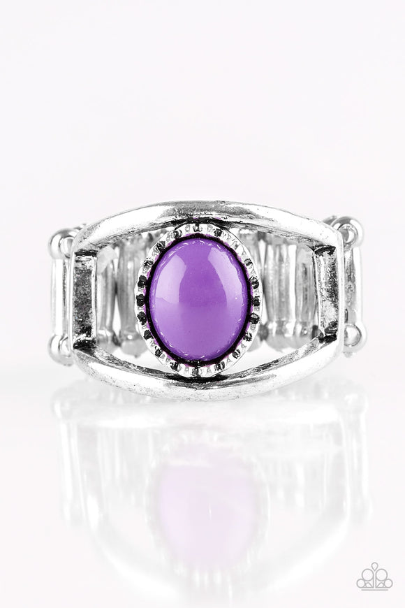 Paparazzi Summer Tour - Purple Bead - Silver Ring