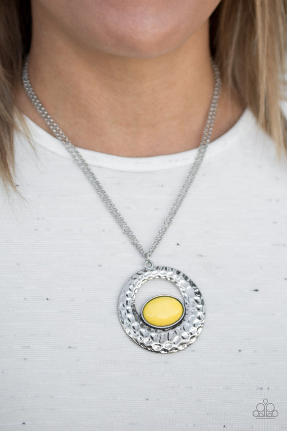 Paparazzi Viva Vivacious - Yellow Bead - Silver Hammered Textures - Necklace & Earrings - Lauren's Bling $5.00 Paparazzi Jewelry Boutique