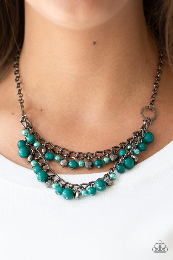 Paparazzi Watch Me Now - Green Beading - Gunmetal Chain Necklace and matching Earrings - Lauren's Bling $5.00 Paparazzi Jewelry Boutique