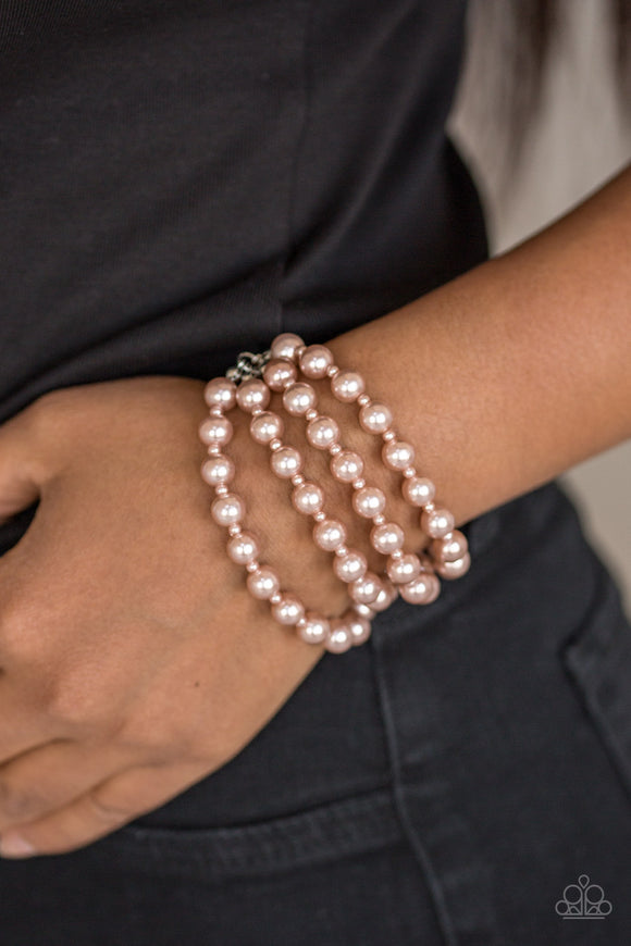 Paparazzi Work The BALLROOM - Brown Pearls - Timeless Look - Bracelet - Lauren's Bling $5.00 Paparazzi Jewelry Boutique