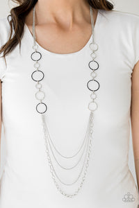 Paparazzi Industrial Circus - Black - Shiny Silver Hoops - Silver Chain Necklace and matching Earrings - Lauren's Bling $5.00 Paparazzi Jewelry Boutique