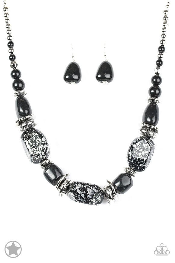Paparazzi In Good Glazes - Black - Blockbuster Exclusive - Necklace and matching Earrings