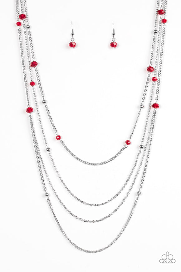 Paparazzi Paparazzi On The Front SHINE - Red Beads - Silver Chain Necklace and matching Earring