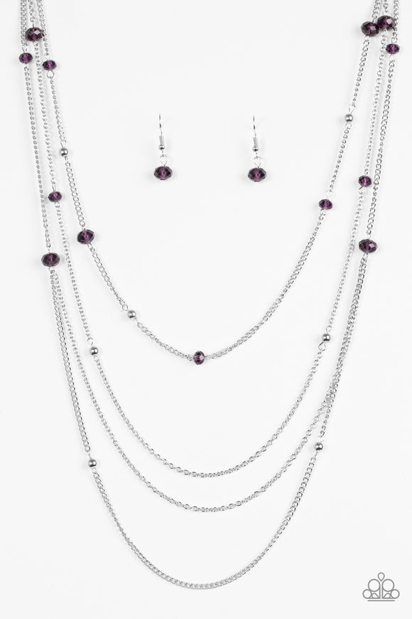 Paparazzi On The Front SHINE - Purple Beads - Silver Chain Necklace and matching Earrings