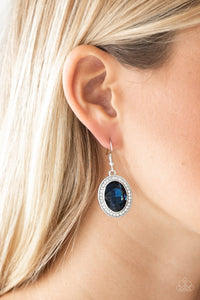 Paparazzi Only FAME In Town - Blue Gem - White Rhinestones - Earrings - Lauren's Bling $5.00 Paparazzi Jewelry Boutique