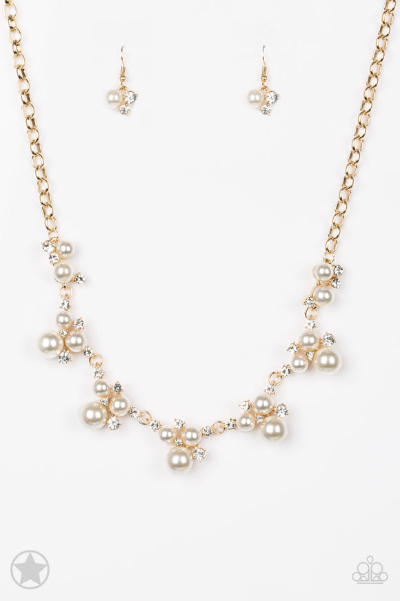Paparazzi Toast To Perfection - Gold - White Pearls and Rhinestones - Blockbuster - Necklace and matching Earrings