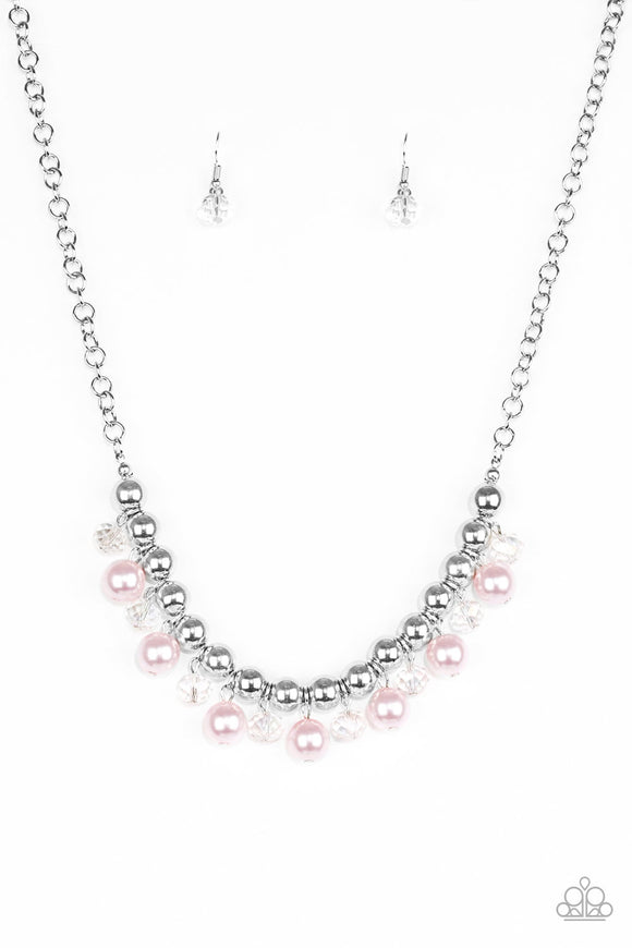 Paparazzi Power Trip - Pink Pearls - Silver Chain Necklace and matching Earrings