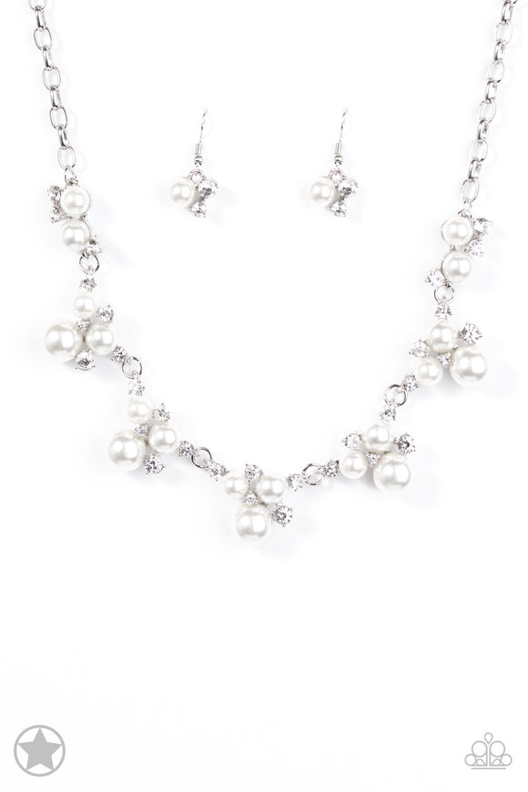 Paparazzi Toast To Perfection - White Pearls and Rhinestones - Blockbuster - Necklace and matching Earrings