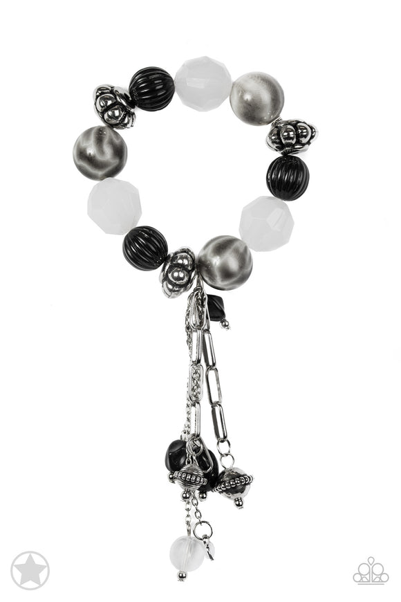 Paparazzi Lights! Camera! Action! - Black / Silver / White Beads Bracelet - Blockbuster Exclusive!