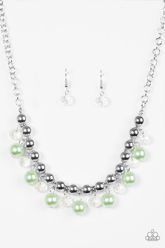 Paprazzi Power Trip - Green Beads - Silver Necklace and matching Earrings