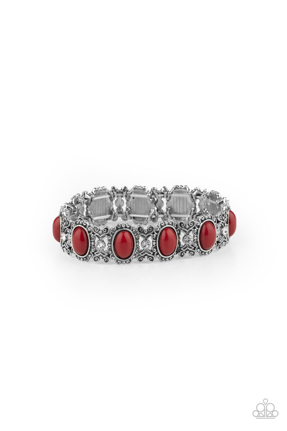 PRE-ORDER - Paparazzi A Piece of Cake - Red - White Rhinestone - Stretchy Band Bracelet