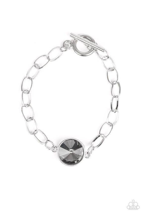 Paparazzi All Aglitter - Silver - Smoky Gem - Nice Silver Chain Toggle Closure - Bracelet