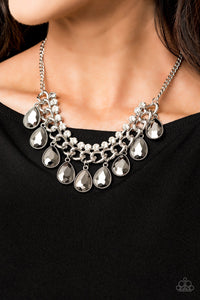 Paparazzi All Toget-HEIR Now - Silver - Teardrop Rhinestones - Bold Silver Chain - Necklace and matching Earrings - Lauren's Bling $5.00 Paparazzi Jewelry Boutique