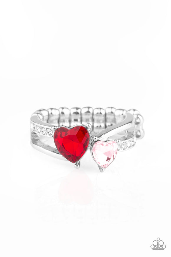 Pre-Order Ships 1/30 - Paparazzi Always Adored - Red - Pink and White Heart Shaped Rhinestones - Silver Dainty Band Ring