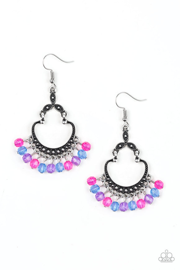 Paparazzi Babe Alert - Multi - Blue, Pink & Purple Faceted Beads - Studded Silver - Earrings