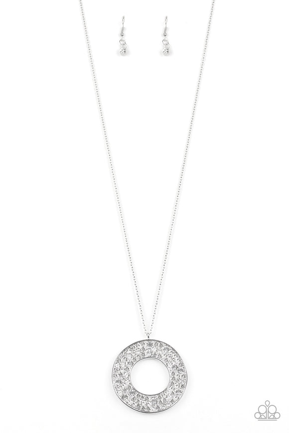 Paparazzi Bad HEIR Day - White - Rhinestones - Round Pendant - Necklace and matching Earrings - Lauren's Bling $5.00 Paparazzi Jewelry Boutique
