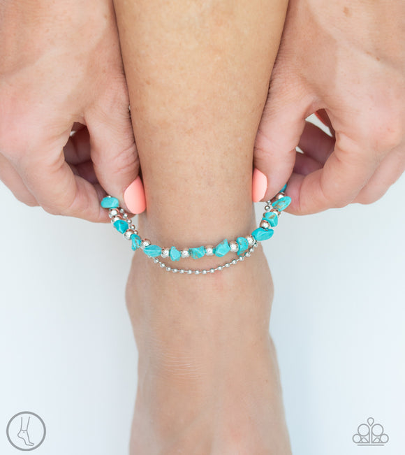 Paparazzi Beach Expedition - Blue Turquoise Rocks - Silver Anklet Bracelet - Anklet