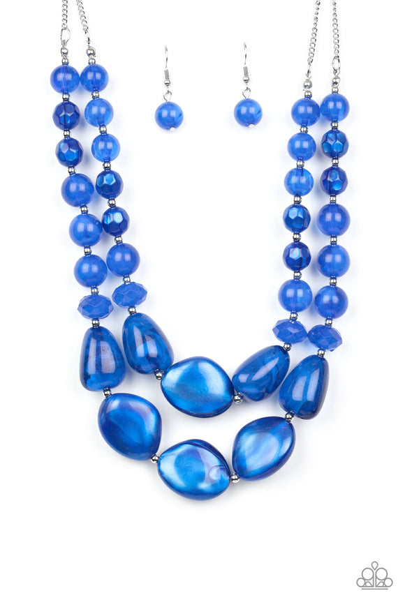 Paparazzi Beach Glam - Blue - Glassy & Iridescent Galaxy Beads - Necklace & Earrings