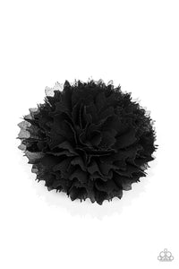 Paparazzi Bloom-tastic - Black - Scalloped Petals - Hair Clip / Bow