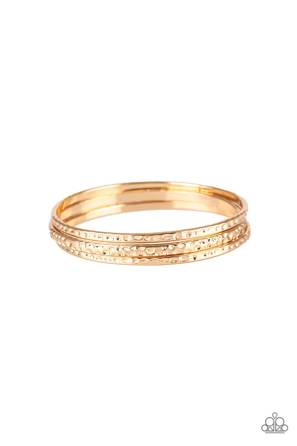 Paparazzi Casually Couture - Gold - Set of 3 Bangle Bracelets