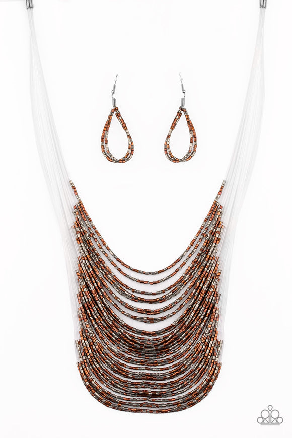 Paparazzi Catwalk Queen - Multi - Metallic Copper and Gunmetal Seed Beads - Necklace and matching Earrings