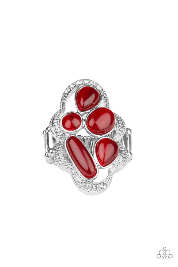 Paparazzi Cherished Collection - Red - Cat's Eye Moonstones - White Rhinestones - Ring