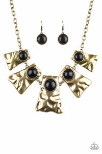 Paparazzi Cougar - Brass - Black Stones - Hammered Details - Necklace and matching Earrings - Lauren's Bling $5.00 Paparazzi Jewelry Boutique