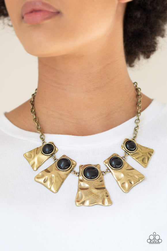 Paparazzi Cougar - Brass - Black Stones - Hammered Details - Necklace & Earrings - Lauren's Bling $5.00 Paparazzi Jewelry Boutique