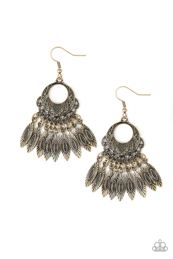 Paparazzi Country Chimes - Brass - Studded and Embossed - Fringe Bars - Hoop Earrings