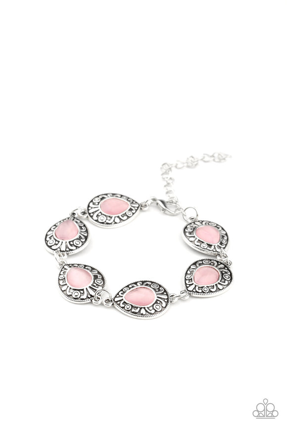 Paparazzi Enchantingly Ever After - Pink - Cat's Eye Moonstone - Silver Teardrops - Bracelet